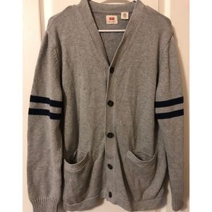Gray Levi's cardigan with blue stripes